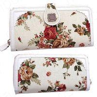 [Hot Sale] Fashion Elegant OL Lady White Rose Flowers Zip Long Pattern Wallet Purses Casual Formal YNB477#M4