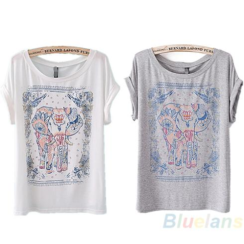 new arrival product 2013 Womens Casual European Animal Elephant Body Vintage Short Sleeve Crewneck T Tops Shirt(China (Mainland))
