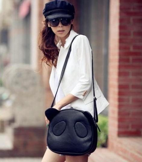 New Women Girls Cute Panda PU Leather Hobo Purse Handbag Shoulder Bag Cross Body(China (Mainland))