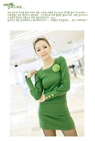E6159 2013 temperament with Corsage Sweet beauty long sleeve green Lycra Slim Dress