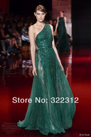 2014 Elie Saab Dress Couture Green One Shoulder Lace Tulle Beads Beautiful Floor Length Evening Dresses Gowns Prom Dress Gown