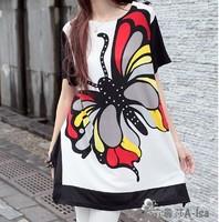 T shirts for women 2013 summer tops printed animal novelty Large Big Butterfly irregular print shorts short sleeve shirt women