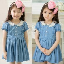 2015 summer girls clothing baby child turn-down collar denim one-piece dress A0112(China (Mainland))