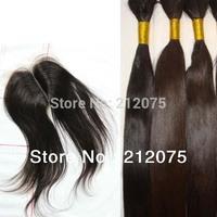 "MIX Lenght  4pcs  10-24""inch Brazilian Virgin Hair 1pcs Lace Top Closure 4x3.5""+3pcs Bulk Straight hair extensions can be dyed"
