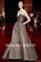 2014 Elie Saab Couture Grey Satin Sweetheart Full Beads High Fashion Floor Length Evening Dresses Prom Ball Gown