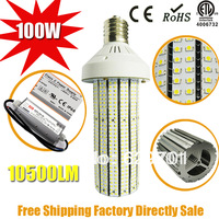 Free Shipping E40 100w 10500LM 3528 SMD Chip Corn Light  replace 400w  HPS AC85-277V  3 years warranty CE RoHS UL  ETL Approved