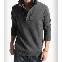 2013 Fashion Mens Classic  autumn/winter sweater,Men's warm polo cardigan sweater high neck Pullovers,False twinset CardiganW741