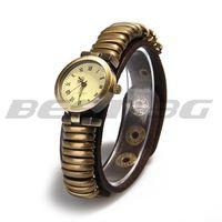 Antique Brass Quartz Movement Wrist Watch Wristwatch Genuine Leather Wristband