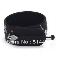 DHL Freeshipping  KTWO Skull Pattern Wrist Slap Capacitive Touch Screen Pen Stylus for iPhone For iPod  Black 50pcs/lot