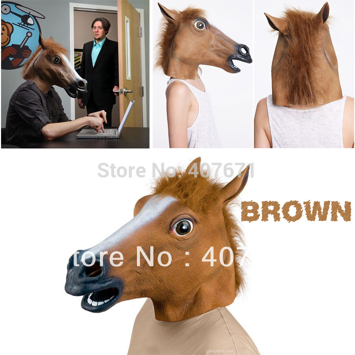 Free shipping Creepy Horse Mask Head Halloween Costume Theater Prop Novelty Latex Rubber(China (Mainland))
