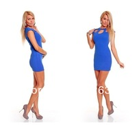Free shipping and low price blue cute babydoll dress