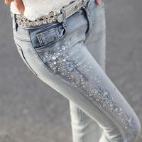 light color female long trousers skinny jeans pencil pants