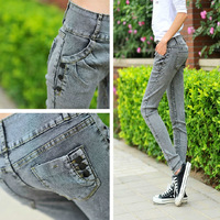 *2014 jeans female high waist skinny pencil pants slim pants denim pants