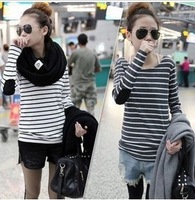 Best selling!!2013 spring autumn women t-shirt long sleeve striped ladies bottoming shirt female cotton shirt free shipping