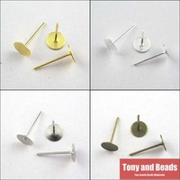 (200Pcs=1Lot!) Jewelry Earring Finding Flat Round Blank Peg&Post Ear Studs Head Pins Earring Gold,Silver,Bronze,Dull Silver 8mm