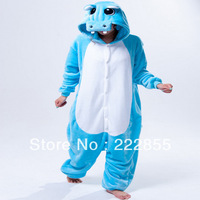Performance Kigurumi Pajamas Animal halloween Cosplay Costume Fleece Blue hippo cartoon sleepwear Free shipping  0942-3