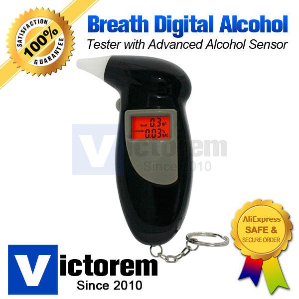 Portable Digital LCD Backlight Display Breath Alcohol Analyzer Breathalyzer Tester Advanced SMD Sensor Free Shipping & Dropship(China (Mainland))