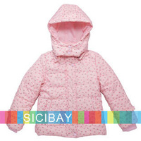 Free Shipping Winter Girls Down Coats Children Warm Flower Outerwear   K3209