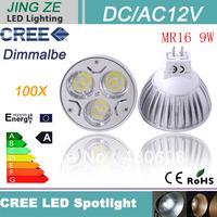 100X High Power GU5.3 ( MR16) 9W MR16 CREE led spotlight LED replaces Halogen technology DC/AC 12V  free shipping