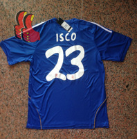 A+++ Thai 2013 2014 Spain Real Madrid Away Blue ISCO Soccer Jersey Thailand Football Shirt Custom Name Ronaldo Ozil Benzema