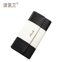 2013 New style fashion clutch wallet color block women's cowhide Card Holders