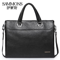 High quality genuine leather shoulder bags for men First layer of cowhide embossed commercial briefcase