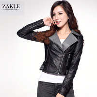 Zakle PU small leather motorcycle clothing autumn 2013 suit collar short leather jacket slim outerwear women's design