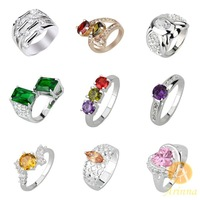 [Arinna Jewelry]5PCS/LOT 9 items for option Jewelry All Kinds Diamond Rings Gold Silver For Women 2013 Hot Sale Rings GR-22