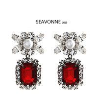 Freeshopping 2013 fashion earrings jewelry romantic red blue green crystal Earrings  E
