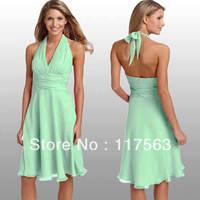 High quality short halter sleeveless chiffon mint bridesmaid dress brides maid dress BD052