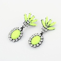 Shourouk Statement earrings 2014 luxury Crystal Stone Flower Earrings unique rhinestone fluorescent jewelry free shipping