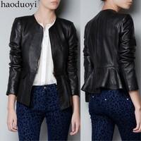 New 2014  fashion flouncing leather jacket collarless slim leather jacket  motorcycle jacket