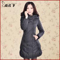 ON Sale promotion Winter slim black long design fur collar down coat female  HOT