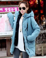 2013 women's long-sleeve with a hood cotton-padded jacket medium-long wadded jacket female outerwear thickening cotton-padded