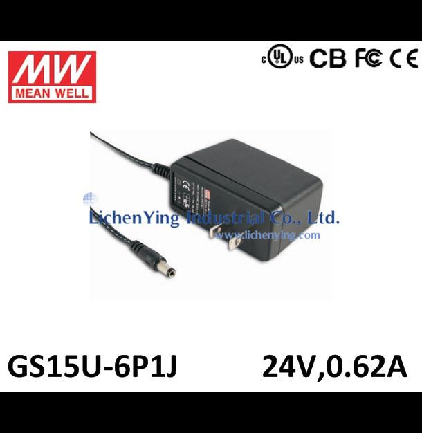 Genuine MeanWell 15W 24V 0.62A Single Output Wall mounted type Green Adaptors GS15U-6P1J 2 pole USA plug Adapters UL CB CE(China (Mainland))