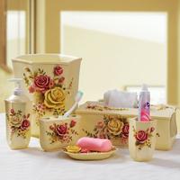New arrival rustic bathroom set victoria six pieces set livable decorations three-dimensional relief flower
