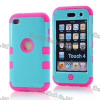 New arrival!!! 3-in-1 case cover for ipod touch4 silicone+ pc Gloss Oil hard shell + screen protector Free shipping wholesale