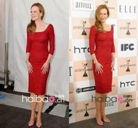 New fashion three quarter lace custom made red celebrity dress