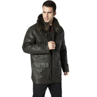 down coat men's medium-long plus size large fur collar down coat