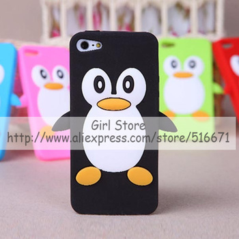 1PCS 3D Cute Cartoon Penguin Soft Silicon Rubber Back Case Mobile Phone Bag Covers For Apple iPhone 4 4G 4S