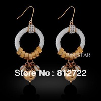 Best Seller! Vnistar Fashion 18k Real Gold Plating Leather Lady Dangle Earrings, 4 Pairs Free Shipping VE378