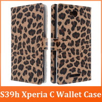 2013 Fashion Designer Leopard PU Leather Mobile Phone Cases For Sony ion S39h Xperia C,Flip Wallet Case Cover With Card Holder