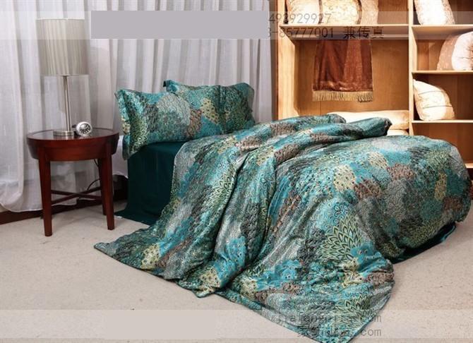 Blue peacock feather print silk bedding comforter sets king size queen    Peacock Feather Comforter
