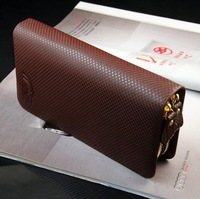 Male Genuine Leather Commercial Cowhide Fashion Double Zipper Large Capacity Men clutch