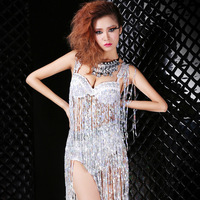 Fashion costumes twirled clothing steel pipe sexy female singer paillette tassel set ds costume
