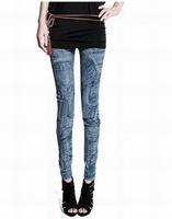 Thin pantyhose false pocket stitching Denim WOMENS SEXY SOLID STRETCH CANDY COLORED SLIM FIT SKINNY PANT TROUSERS HOT!