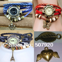 5 types heart Pendant 8 color Quartz Bracelet Bangle Retro Lovely Womens Girl Weave Wrap Around Leather Watch