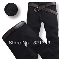 Free shiping,hot 2013 winter men's warm jeans plus thick men casual pants trousers black