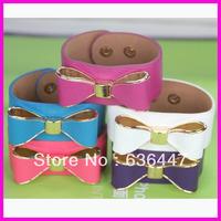 RCC-079 10pieces/lot High quality bow leather bracelets Blue,purple,pink,fuchsia,white 5colors Wrap Leather bracelets