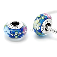 2pcs 925 sterling silver Violet Blue Murano Glass Beads Europe Charm Beads Fits dora Charm Bracelets necklaces & pendants /ZS244